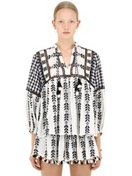 Dodo Bar Or Cotton Jacquard And Lace Shirt W Tassels Black White