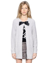 Karl Lagerfeld Wool Blend Cardigan With Bow