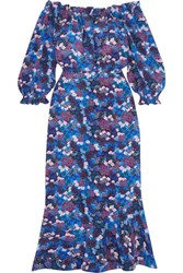Saloni Grace Off The Shoulder Floral Print Silk Crepe Dress Blue