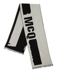 Mcq By Alexander Mcqueen Logo Printed Wool Blend Scarf Black