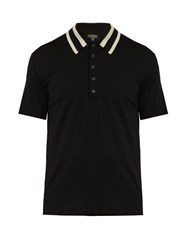 Burberry Striped Collar Wool Knit Polo Shirt Black