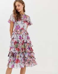 Needle And Thread Ruffle Midi Dress In Allover Floral Print Blue