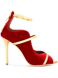 Malone Souliers Velvet Pumps Red