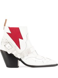 Pushbutton Western Boots White