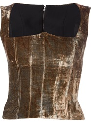 Y Project Velvet Bustier Top Brown