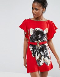 Pussycat London Belted Floral Tunic Dress Red