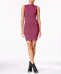 Kensie Ribbed Striped Dress Bright Fuscia Combo