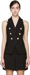Balmain Black Double Breasted Tweed Vest