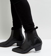 Asos Design Wide Fit Cuban Heel Boots In Black Leather With Lightening Detail
