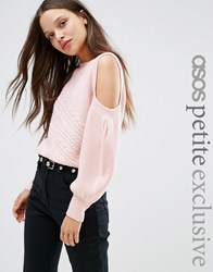 Asos Petite Jumper With Cold Shoulder And Cable Stitch Pink