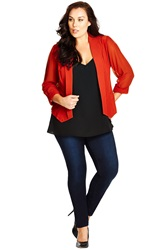 City Chic Drapey Blazer With Chiffon Sleeves Plus Size Amber