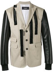Dsquared2 Leather Ruffle Blazer Nude Neutrals