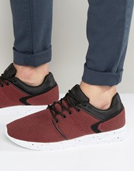 Pull And Bear Pullandbear Knitted Trainers In Red Black Burgundy