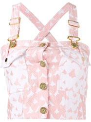 House Of Holland Heart Printed Dungaree Crop Top Pink