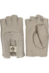 Karl Donoghue Shearling Fingerless Gloves Brown
