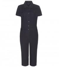 Marc By Marc Jacobs Cropped Cotton Jumpsuit Black
