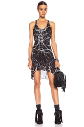 Haute Hippie Printed Racerback Silk Dress With Side Tucks In Black Abstract