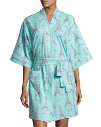 Bedhead French Bow Short Kimono Robe Light Blue