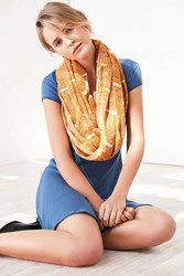 Silence And Noise Nubby Printed Oblong Scarf Coral