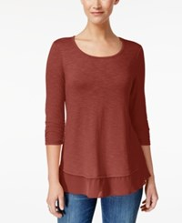 Style And Co Chiffon Hem Top Only At Macy's Cabin Red