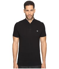The Kooples Officer Collar Polo With Contrasting Trim Black Sky Blue