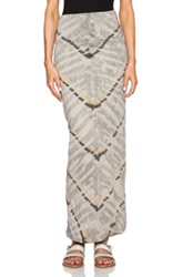 Raquel Allegra Double Layer Maxi Skirt In Gray Ombre And Tie Dye