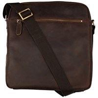 John Lewis Rio Oiled Leather Reporter Bag Brown