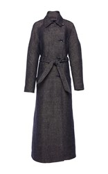 Martin Grant Denim Tweed Trench Coat Blue