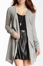 Sweet Romeo Draped Front Knit Cardigan Gray