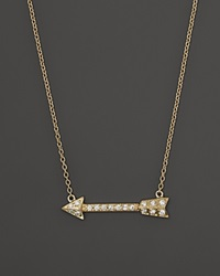 Bloomingdale's Diamond Arrow Necklace In 14K Yellow Gold .12 Ct. T.W. Yellow Gold White Diamodns