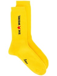 Ash Logo Print Socks Yellow