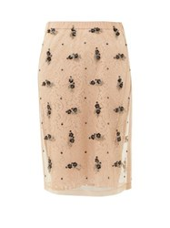 N 21 No. Embellished Tulle And Lace Pencil Skirt Beige
