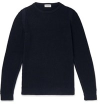 John Smedley 8 Singular Honeycomb Knit Merino Wool Sweater Navy