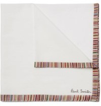 Paul Smith Striped Cotton Voile Pocket Square White
