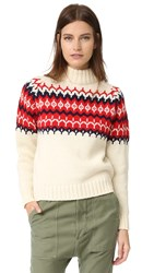 Anddaughter Fair Isle Knit Sweater Ecru Red
