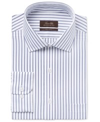 Tasso Elba Men's Classic Fit Blue And White Striped Dress Shirt Only At Macy's