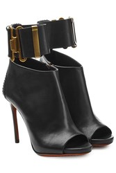 Dsquared2 Leather Open Toe Ankle Boots With Cuff Black