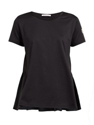 Moncler Ruched Shell And Jersey T Shirt Black