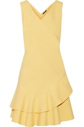 Raoul Fleur Ruffled Cotton Blend Matelasse Mini Dress Yellow