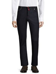 Kiton Regular Fit Houndstooth Trousers Navy
