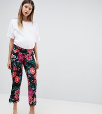 Asos Design Maternity Low Rise Bump Band Pyjama Trouser In Jersey With Lace Hem In Floral Print Multi
