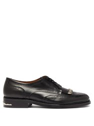 Toga Virilis Polido Fringed Leather Derby Shoes Black