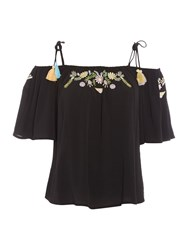 Little White Lies Cold Shoulder Floral Embroidery Top Black