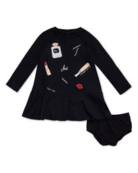 Kate Spade Glamour Collage Long Sleeve Dress W Bloomers Size 12 24 Months Black