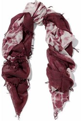 Chan Luu Fringed Printed Cashmere And Silk Blend Gauze Scarf Burgundy