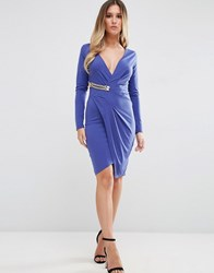 Jessica Wright Long Sleeve Wrap Front Dress With Gold Buckle Detail Cobalt Blue