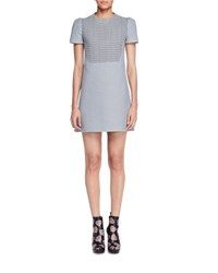 Alexander Mcqueen Short Sleeve Houndstooth Tweed Dress Black White Black White