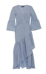 Mds Stripes Wrap Ruffle Dress Stripe