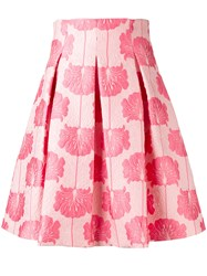 P.A.R.O.S.H. Floral Pleated Skirt Pink Purple