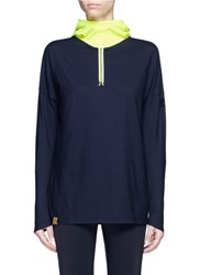 Monreal London 'Namaste' Neon Contrast Performance Jersey Hoodie Blue